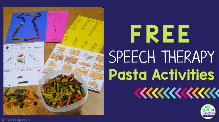 Free Pasta Activities for Speech THerapy